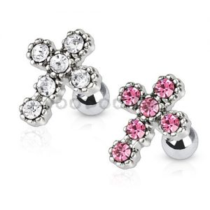 316L Surgical Steel Tragus/Cartilage Barbell with Multi Paved Cross Top