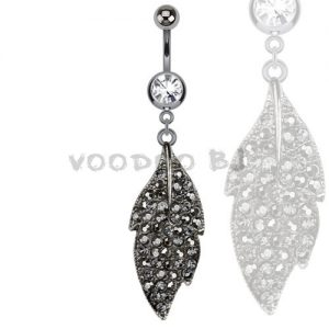 316L Surgical Steel Hematite Multi Paved Marcasite Leaf Dangle Navel Ring