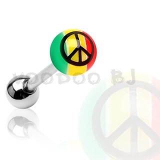 316L Surgical Steel Tongue Bar with UV Rasta Coloured Ball & Peace Sign Print