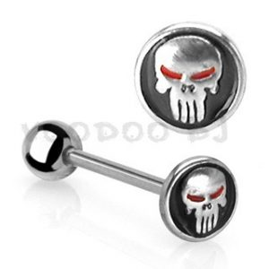 316L surgical Steel Tongue Bar with Skull in Black