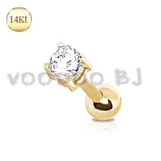 14Kt Yellow Gold Prong Set with Clear CZ Cartilage Earring