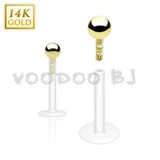 14 Karat Gold Ball Top Bio-Flex Shaft Labret Stud