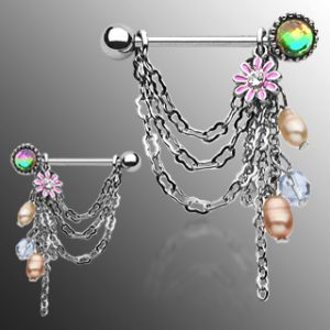 Pair of Chain Drop Dangle with Pearl + Flower Nipple Shield