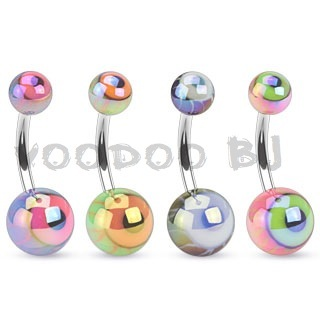 316L Surgical Steel Navel Ring with Metallic Coated Eyeball