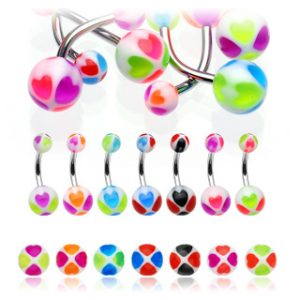 316L Surgical Steel Belly Bar with UV Heart Balls