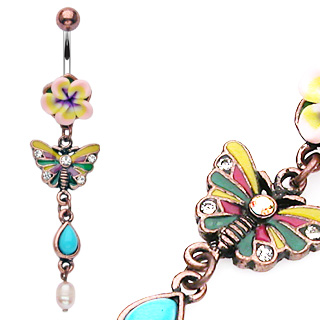 Vintage Fimo Flower Belly Bar with Butterfly Dangle