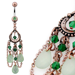 Vintage Belly Bar with Peridot Beads and 3 tear drop Shaped Jade Colour Lt.Green Adventurine Dangles