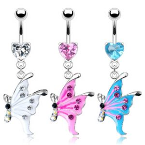 14GA 10mm Prong Heart Navel Belly Bar with Epoxy Gem and Dangle Butterfly