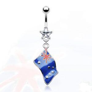 Flag of 'Australia' Belly Bar with Clear Star Gem
