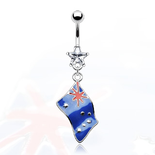 Flag of 'Australia' Belly Bar with Clear Star Gem