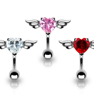 316L Surgical Steel Top Down Belly Bar with  Angel Wings and 8mm Cubic Zirconia Heart