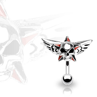 Top Down 316L Surgical Steel Red & Black Star with Wings & Skull