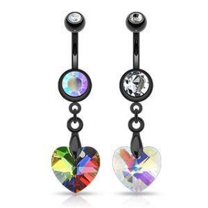 Black Surgical Steel Crystal Ray Prism Heart Navel Ring