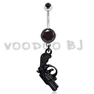 316L Surgical Steel Black Pistol Navel Ring
