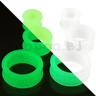 Glow in the Dark Silicone Flexible Double Flared Tunnel Plug