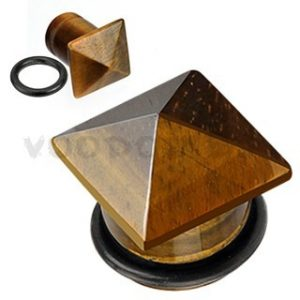 Tiger Eye Semi Precious Stone Pyramid Top Single Flared Plug with O-Ring