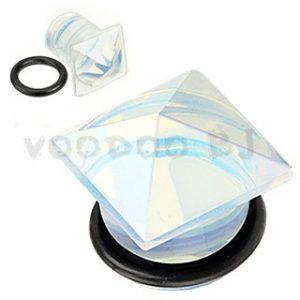 Opalite Semi Precious Stone Pyramid Top Single Flared Plug with O-Ring