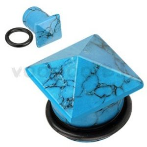 Blue Turquoise Semi Precious Stone Pyramid Top Single Flared Plug with O-Ring