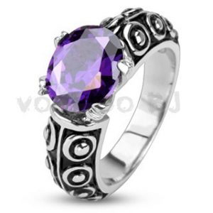 Stainless Steel Faceted Violet Oval Gem of the Sea Cast Ring