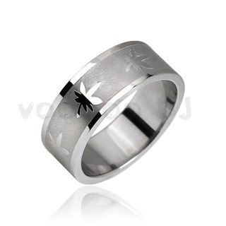 316L Stainless Steel Ring with Pot Leaf Design