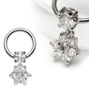 316L Surgical Steel Captive with 4mm Round CZ and Gem Paved Flower Dangle