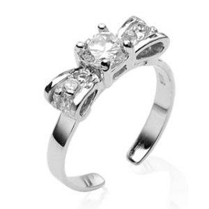 925 Sterling Silver Bow Solitaire CZ Toering