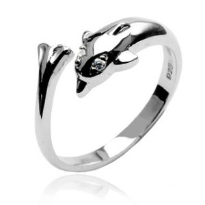925 Sterling Silver Dolphin Toering with CZ