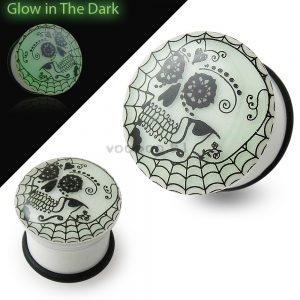 Glow In The Dark Tribal Skull Ear Plug