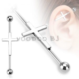 316L Surgical Steel Cross Industrial Barbell