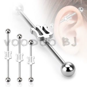 316L Surgical Steel Trident Industrial Barbell