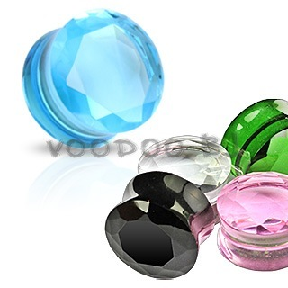 Faceted Glass Double Flared Saddle Plug