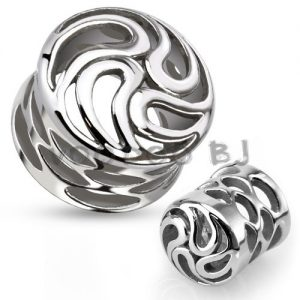 Carved Tornado Swirls Saddle Plug with Holes 316L Surgical Steel