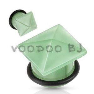 Green Aventurine Semi Precious Stone Pyramid Top Single Flared Plug with O-Ring