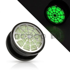 Hollow Spider Web Glow in the Dark Black Acrylic Screw Fit Plug