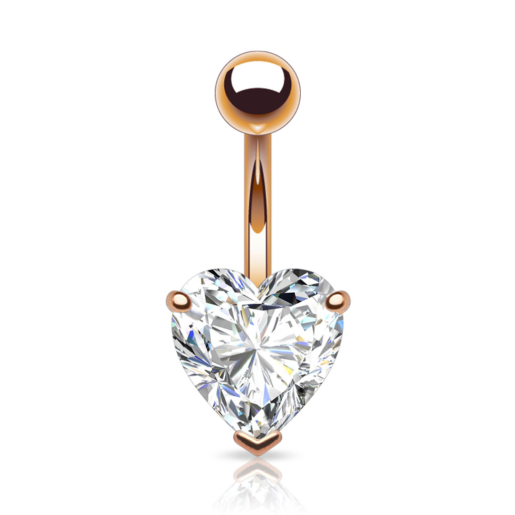 Prong Set Heart Cz Rose Gold Plated Navel Ring