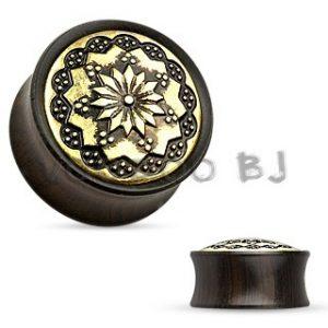 Floral Tribal Pattern Ebony Wood/Brass Double Flare Saddle Fit Plug
