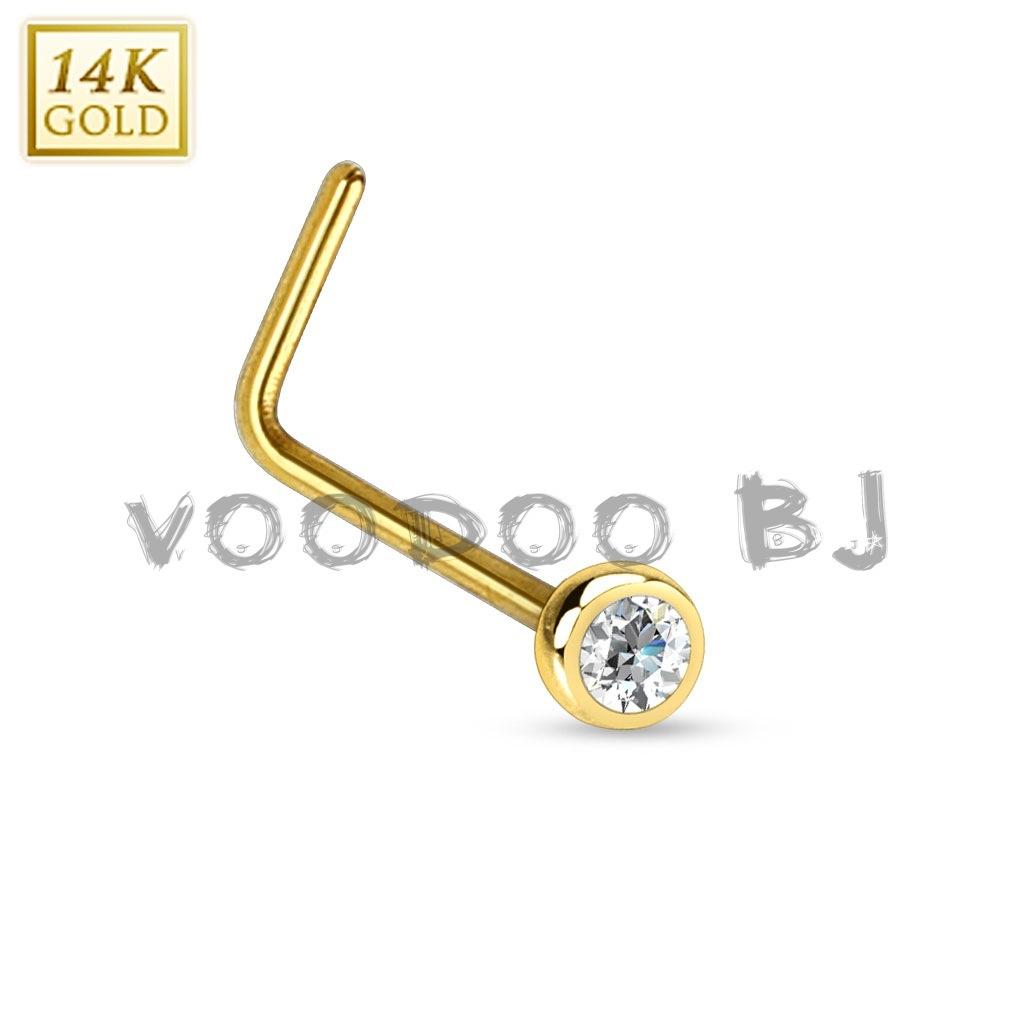 14Kt. Gold L Bend Nose Ring with Bezel Set CZ Ball