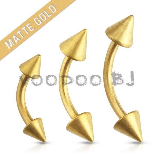 Matte Gold Plated with Spike Ends 316L Surgical Steel Eyebrow Curve Barbell