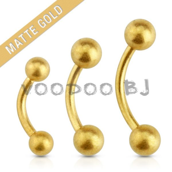 Matte Gold Plated Over 316L Surgical Steel Eyebrow Curve Barbell