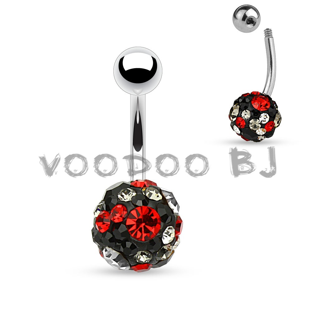 Clear,Black and Red Crystal Paved Ferido Ball 316L Surgical Steel Belly Button Rings
