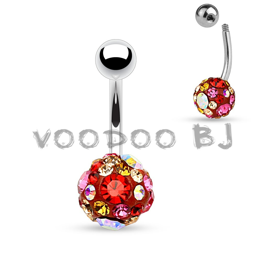 Ab Pink And Red Crystal Paved 10mm Ferido Ball 316l Surgical Steel Belly Button Rings