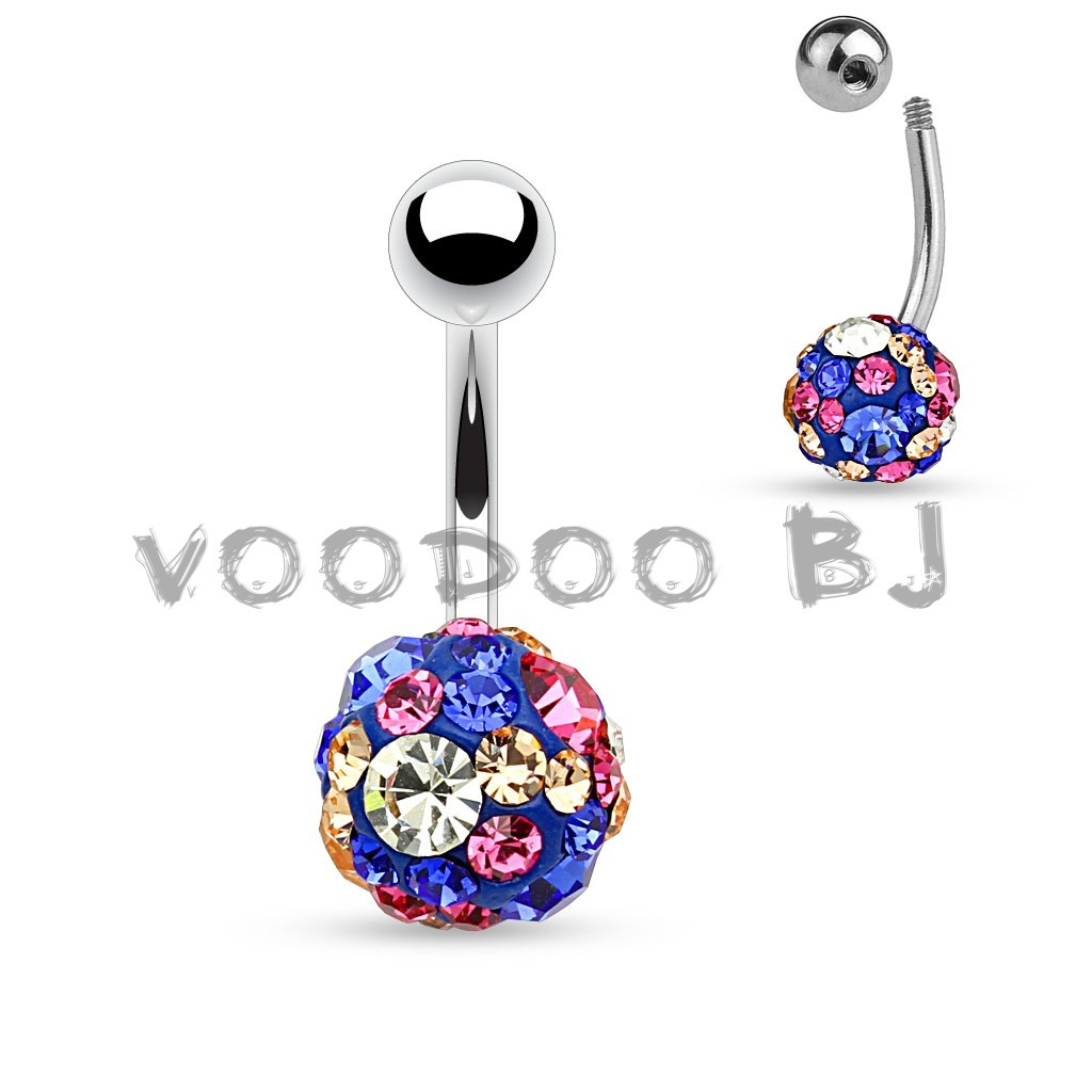 Clear,Pink, Blue and Champagne Crystal Paved 10mm Ferido Ball 316L Surgical Steel Belly Button Rings