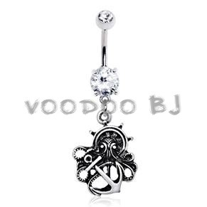 316L Stainless Steel Gothic Nautical Octopus Dangle Navel Ring