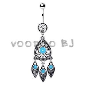 316L Stainless Steel Turquoise Teardrop and Feather Dangle Navel Ring