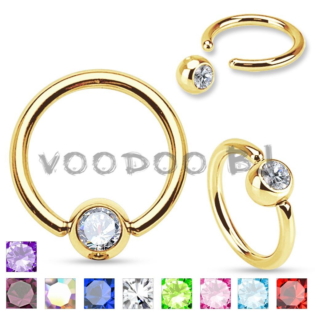 Gold Plated Over 316L Surgical Steel Captive Bead Ring with Press Fit Gem Set Ball