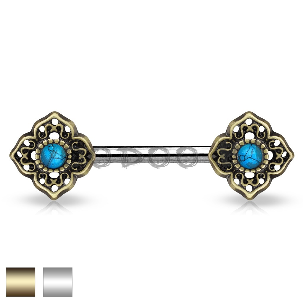 Turquoise Centered Tribal Flower Ends 316L Surgical Steel Nipple Barbells