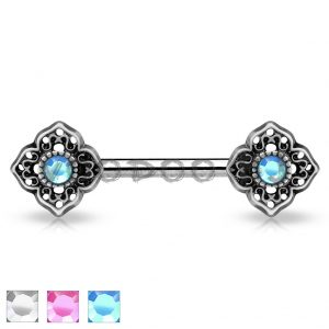 Crystal Centered Tribal Flower Ends 316L Surgical Steel Nipple Barbells