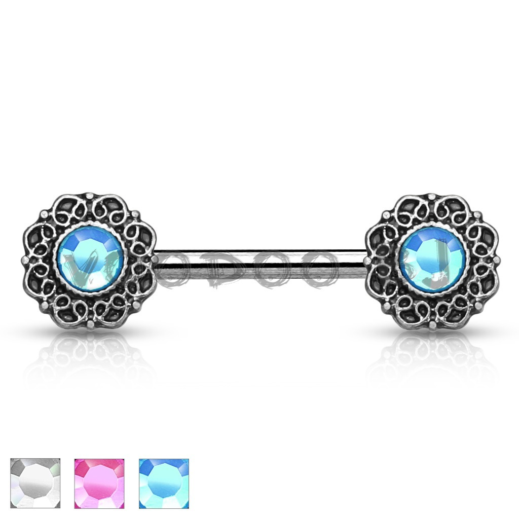Crystal Centered Tribal Heart Filigree Ends 316L Surgical Steel Nipple Barbell