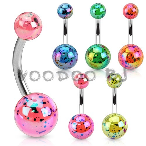 Aurora Borealis Coating Over Splash Acrylic Balls 316L Surgical Steel Navel Ring