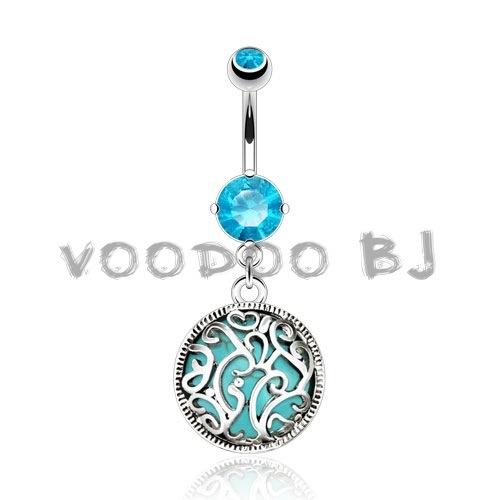 Swirls Medalian with Turquoise Semi Precious Stone Inside Navel Ring 316L